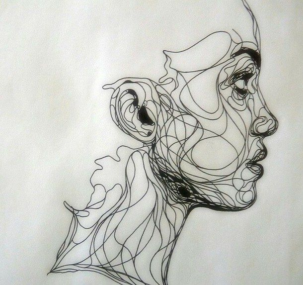 Continuous Line Drawing Of A Face : Girl contour drawing tumblr google search