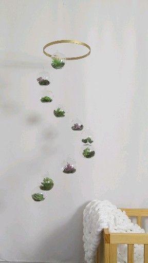 Hanging Terrarium Mobile -Succulent Decor -Gender Neutral Baby Mobile -Hanging Spinning Succulents -Air Plant Decoration -Botanical Nursery