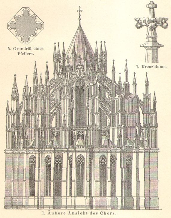1905 Cologne Cathedral Hohe Domkirche St Peter Und Maria Original Antique Engraving Cathedral Architecture Cathedral Architectural Prints