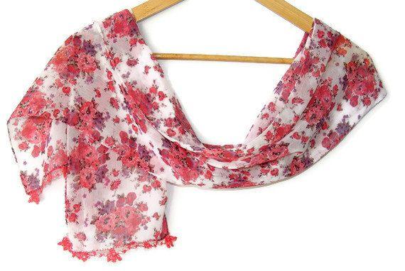 summer fashionfloral chiffon scarfgift scarffor by seno on Etsy, $15.00