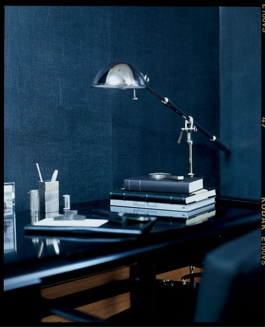 ralph lauren in the textile inspired indigo denim finish writing room pinterest wandfarbe. Black Bedroom Furniture Sets. Home Design Ideas
