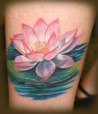 Flower On A Lily Pad Ink Lotus Tattoo Tattoos Flower Tattoos
