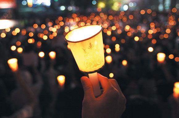 촛불시위 촛불에 불타 버린 한국의 禮 월간조선 생각 그림 사진