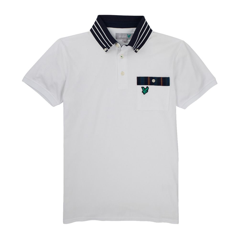 Lyle and Scott Mens White Stripe Collar Polo Shirt. This sophisticated Lyle  & Scott polo