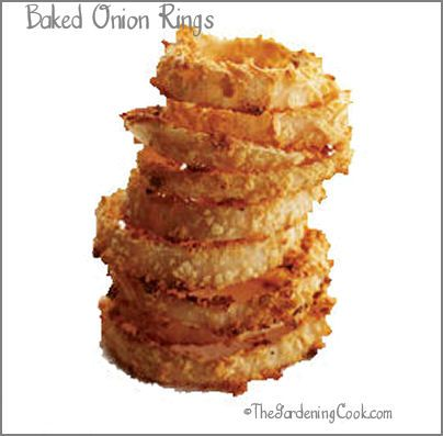 Baked Onion Rings from The Gardening Cook  http://recipesjust4u.com/baked-onion-rings/