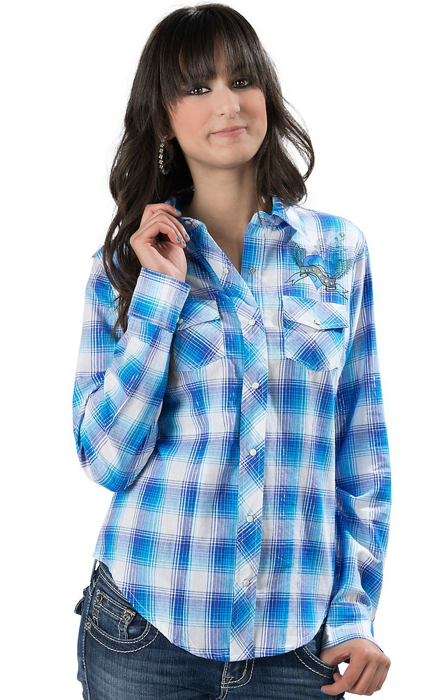 6756e3c8ac8 Cumberland Outfitters® Women s Blue Plaid with Winged Heart and Rhinestones  Long Sleeve Western Shirt - Plus Size