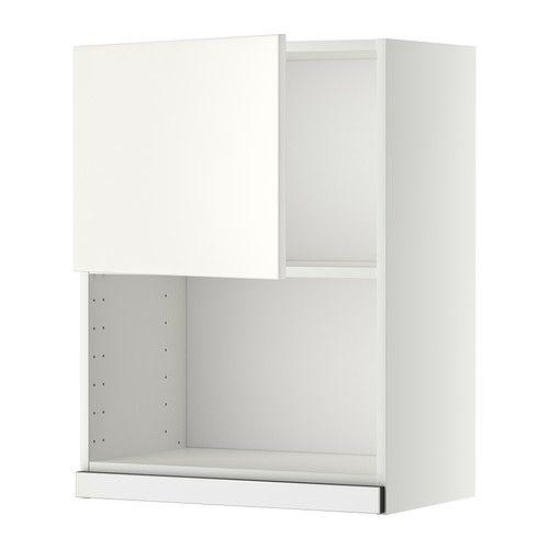 IKEA - METOD, Vægskab til mikrobølgeovn, Veddinge hvid, hvid, 60x80 cm, , Du kan tilpasse afstanden mellem hylderne efter behov, da hylden er flytbar.Du kan vælge at montere lågen i højre eller venstre side.Stellets konstruktion er solid, 18 mm tyk.Hængsler med klikfunktion kan monteres på døren uden skruer, og gør det nemt for dig at tage døren af, når du skal gøre rent.