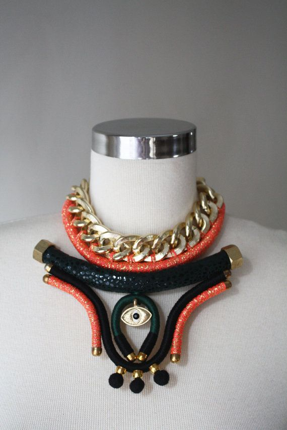 b910fc5fedd20 RIO .Mixed Media Necklace Chunky Chain Necklace Chain by elifus ...