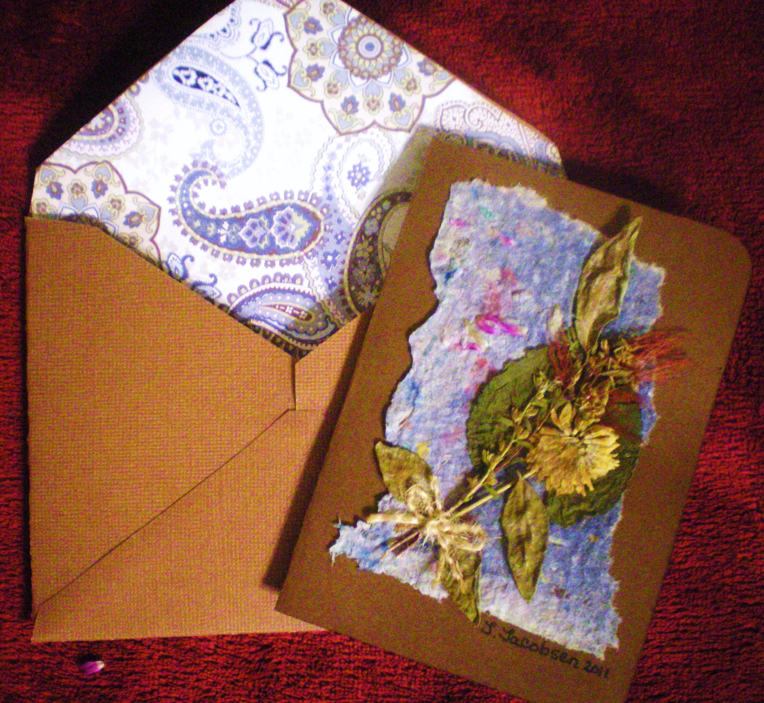 card envelope i made from my homemade paper dried flowers