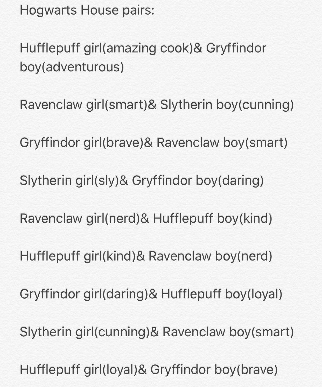 hogwarts house dating style