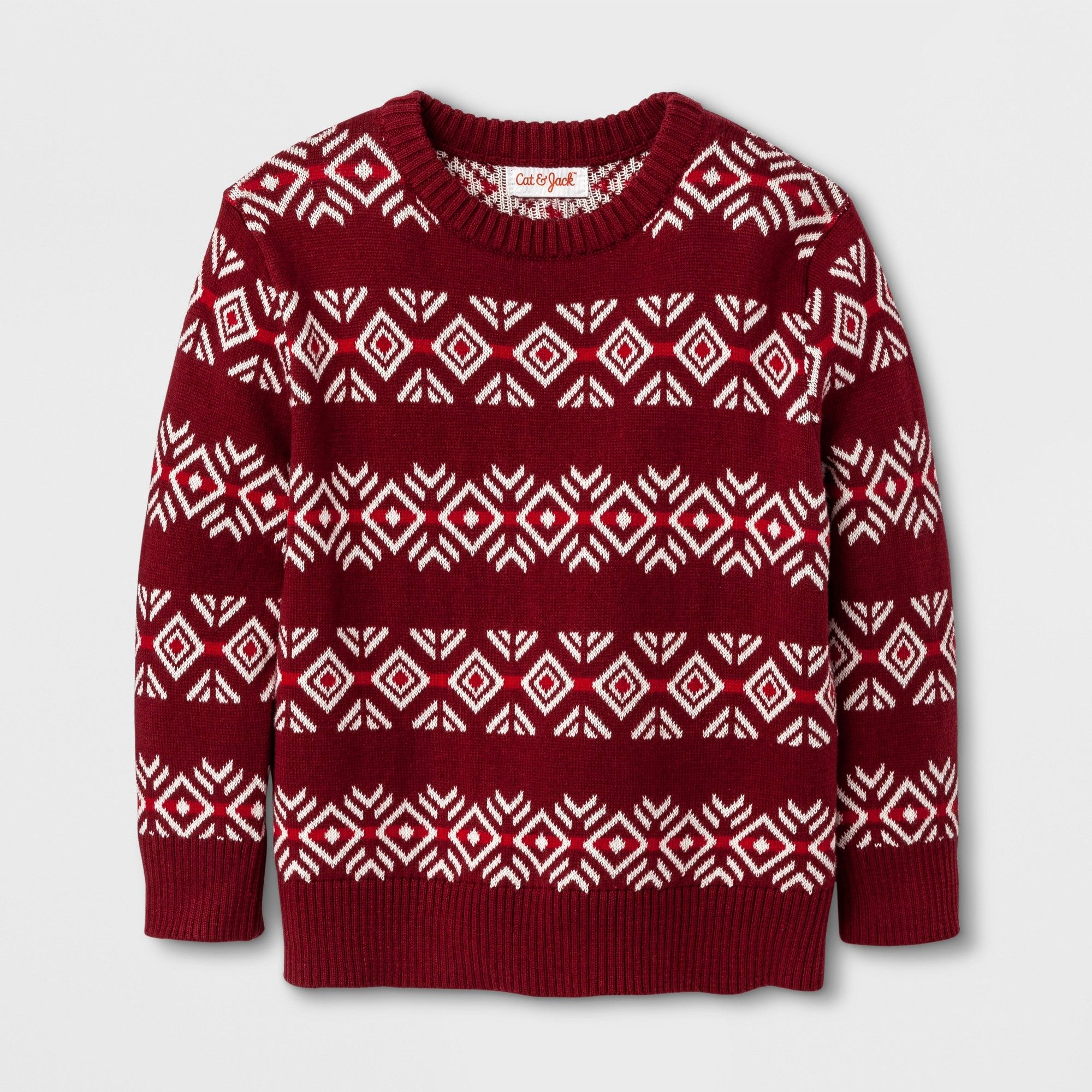 Toddler Boys Crew Neck Pullover Sweater Cat Jack Red Fair Isle