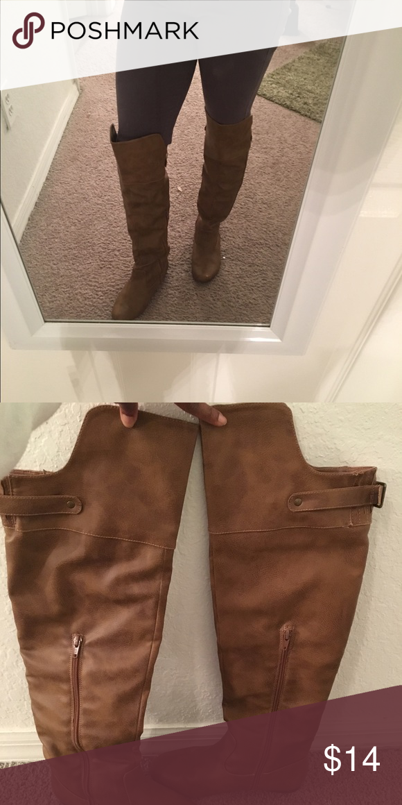 Tan boots Perfect for the winter. Comfy and over the knee Shoes Over the Knee Boots