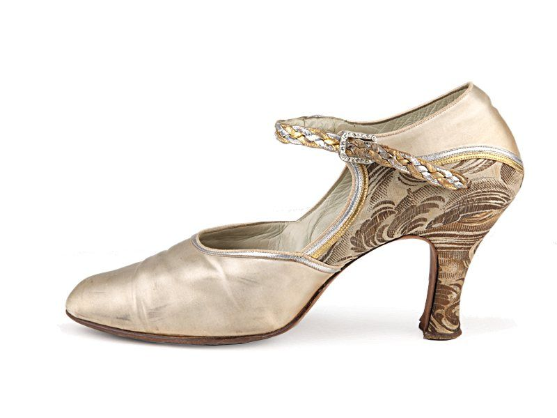 c1b67b3202850 Beige satin and brocade shoes with an over the instep buckles strap ...