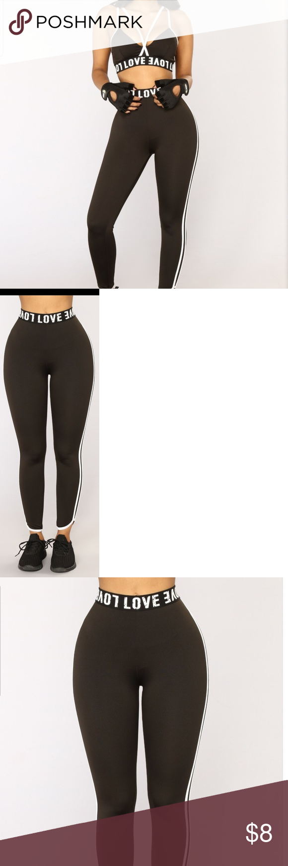 2a2870ec31af3 Love my double stripe active leggings -Large Size Large Fashion Nova Love  my double stripe active leggings. Black and white in color Waist band has  love ...