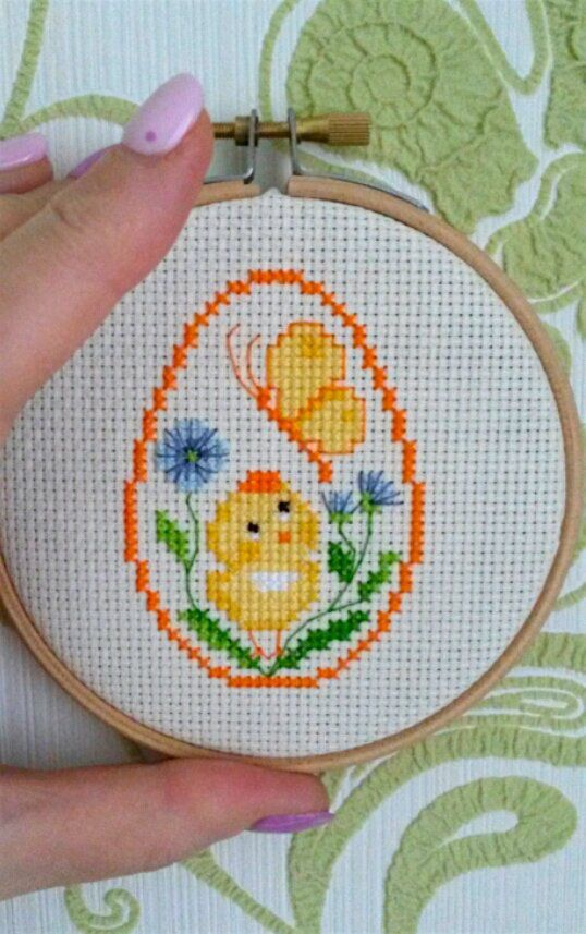 Photo of Easter Egg Cross stitch pattern, Easter egg, Easter embroidery, Easter Chicken  in egg, Easter decoration, Easter ornament Easter chart