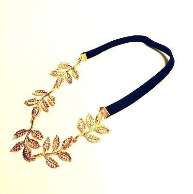 Olive Leaf headband head piece chain leaves golden elastic hair band $5.99