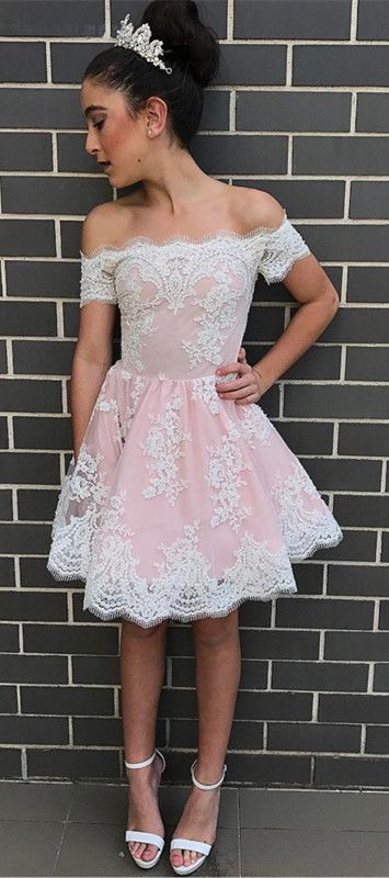 8b60e7ae22b Cute A-line Off-the-shoulder Pink Short Prom Dress with Lace ...