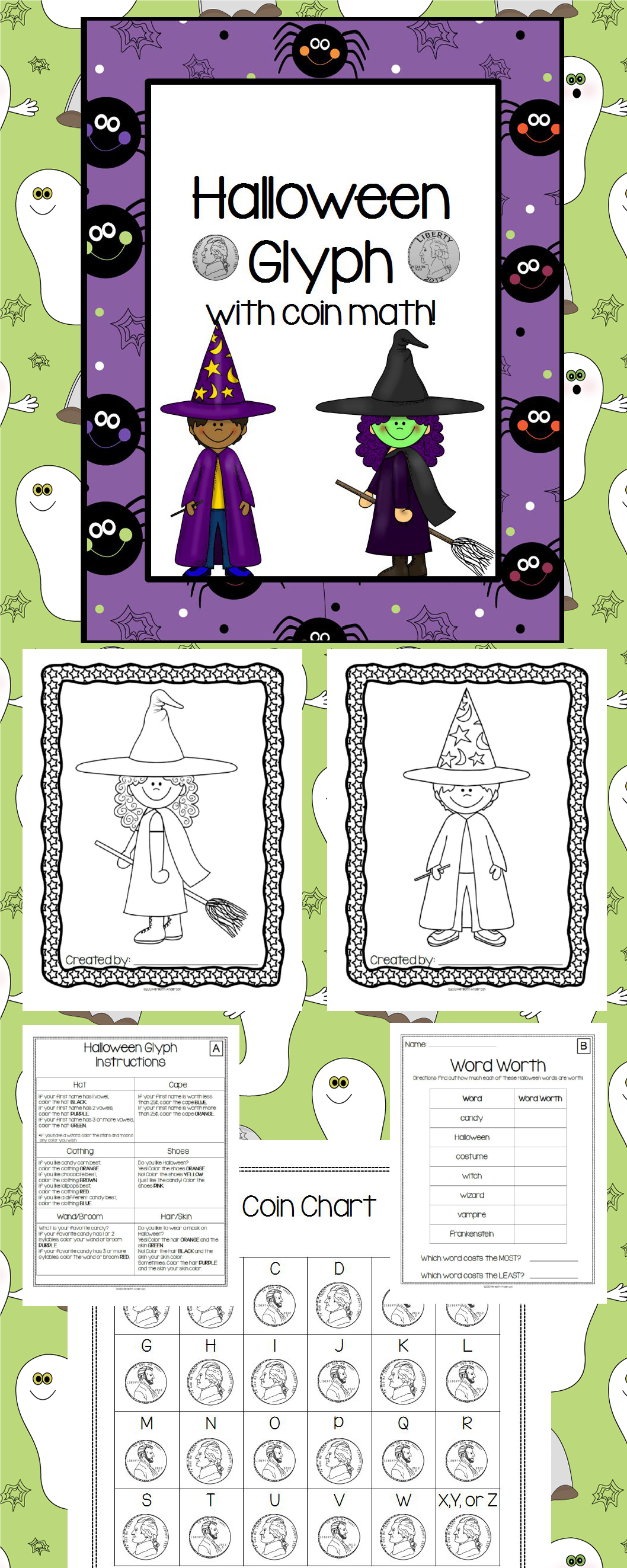 Halloween Freebie Glyph With Coin Math Activities