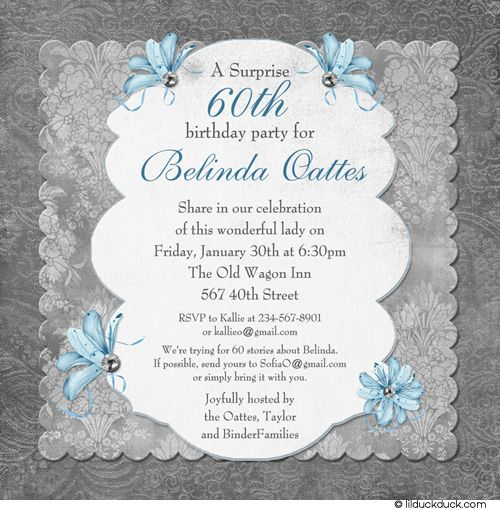 60th Birthday Party Invitation Wording