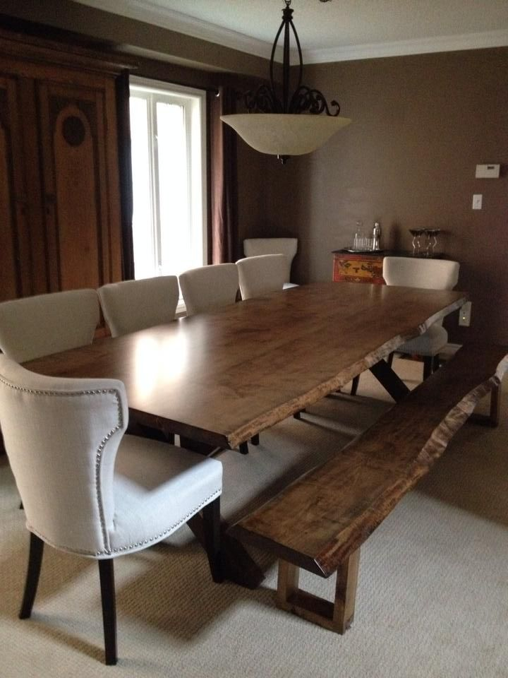 Green Team Live Edge Maple With Dark Walnut Stain And Matching Magnificent Kitchen Table With A Bench Inspiration Design