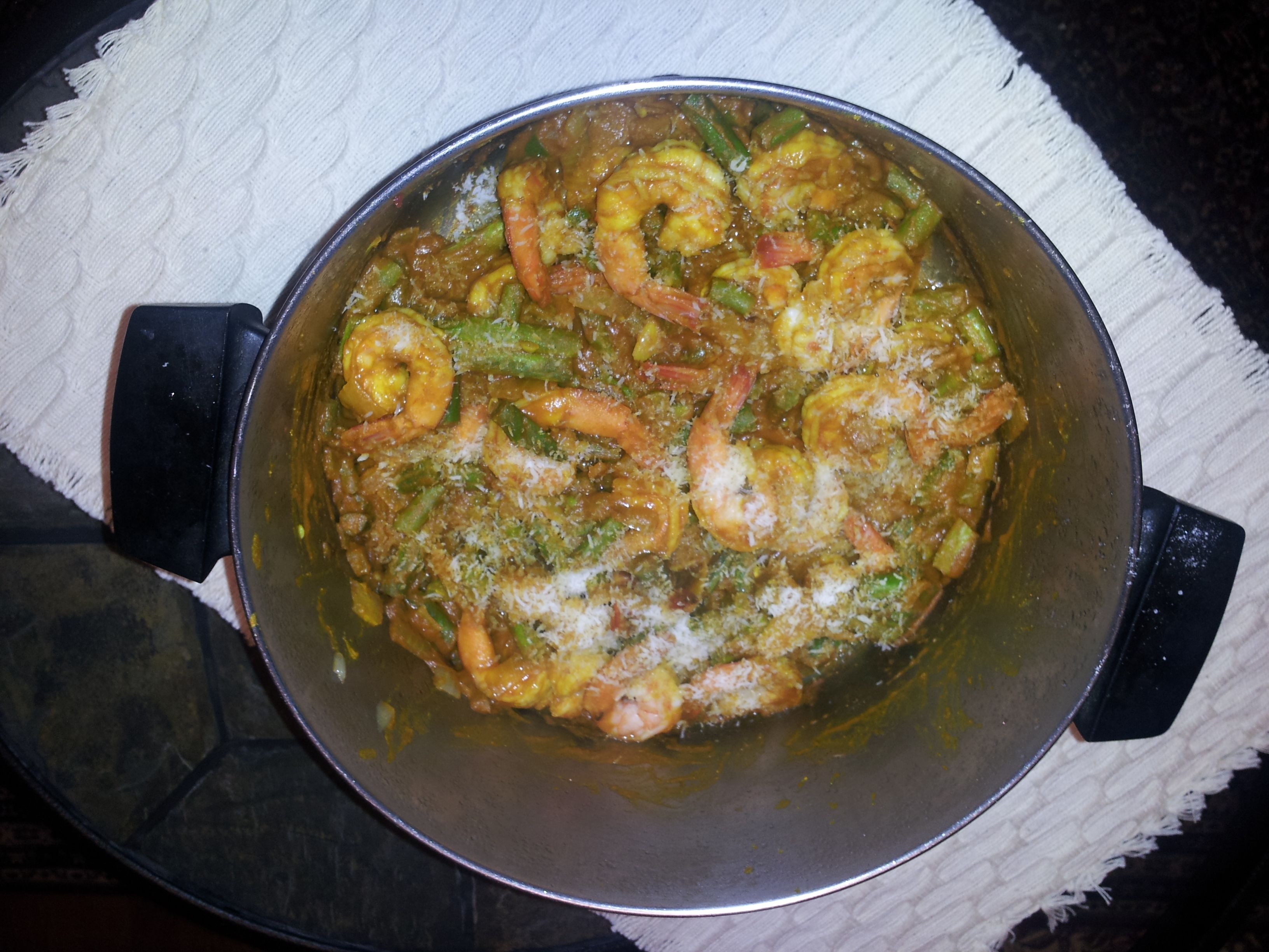 Shrimp and string bean subji  This is a Southern Indian shrimp recipe. If you like shrimp you will like this recipe. Along the coast in India they love there seafood. This dish is delicious and nutritious. Many Indians consider fish to be vegetarian. They have been eating fish for over 5000 years.