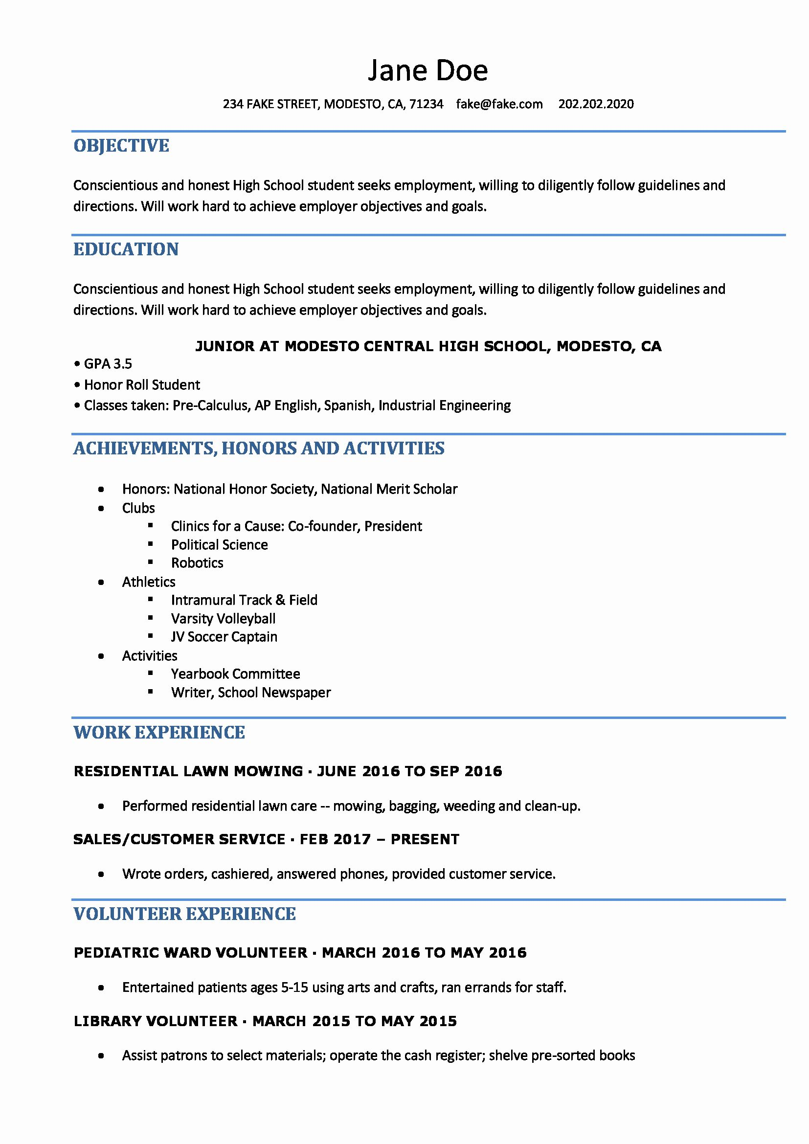 Resume high school student new high school resume high