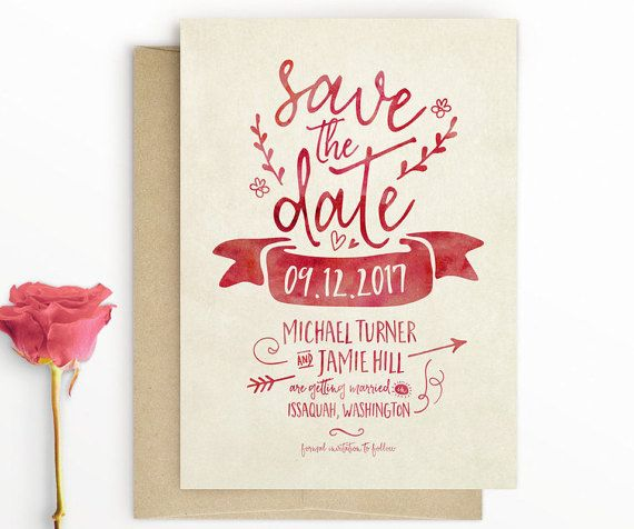 Boho Save the Date - Modern Rustic Save The Date - Typography Save The Date