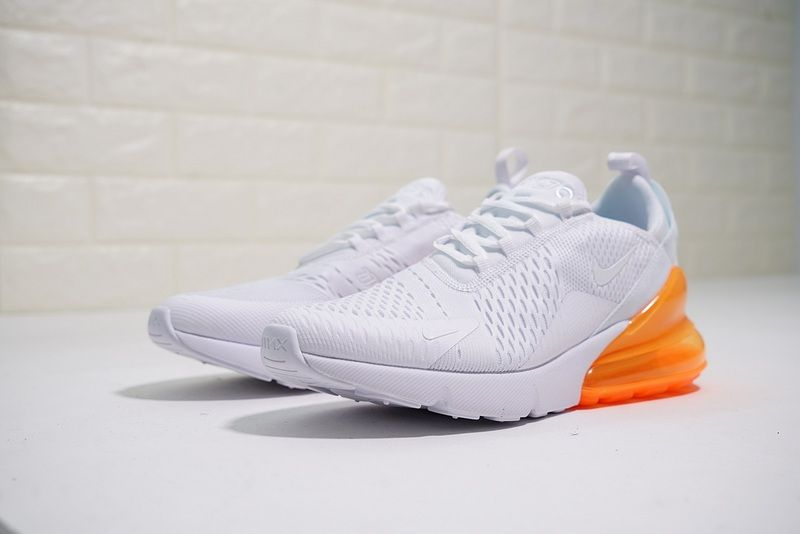 f4a4bca7af45 Newest Nike Air Max 270 White Orange Mens womens Training Basketball Shoes  AH8050 102