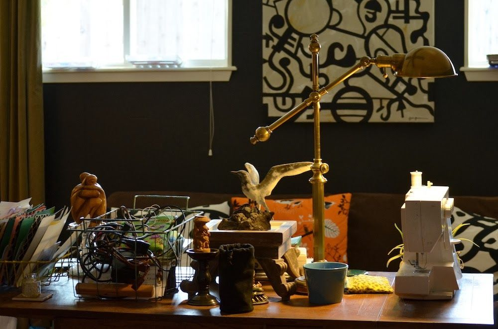 Messy table top in my art studio - photo by Sarah Greenman