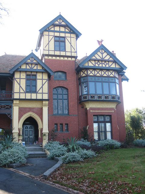 """Harcourt Street Facade of """"Talana"""" a Queen Anne Style Mansion - East Hawthorn   .Designed by Melbourne architect Beswicke and built in 1910, """"Talana"""" is named after a town in the province of Ogliastra, in Sardinia, Italy. It is one of the most elaborate Queen Anne residences in Melbourne"""