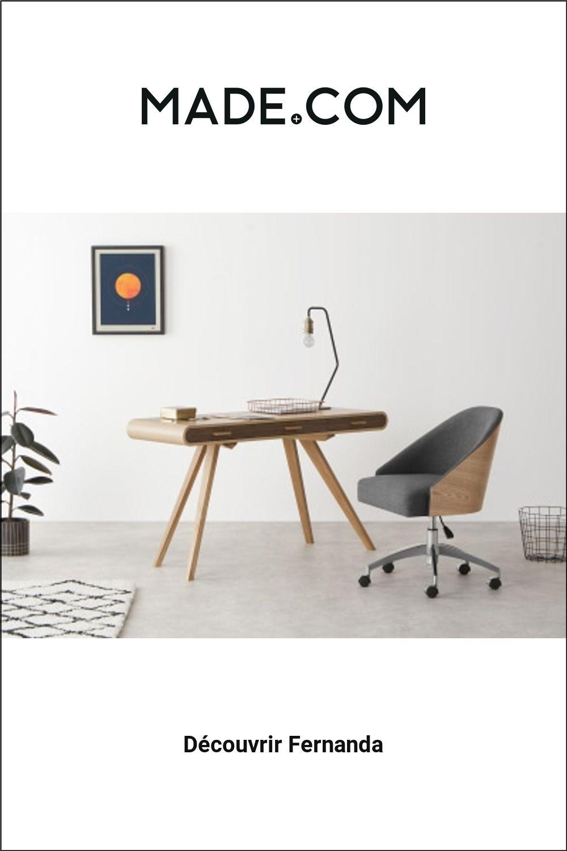 Fernanda Chaise De Bureau Frene Et Tissu Gris Chine Burostuhl Esche Holz Design