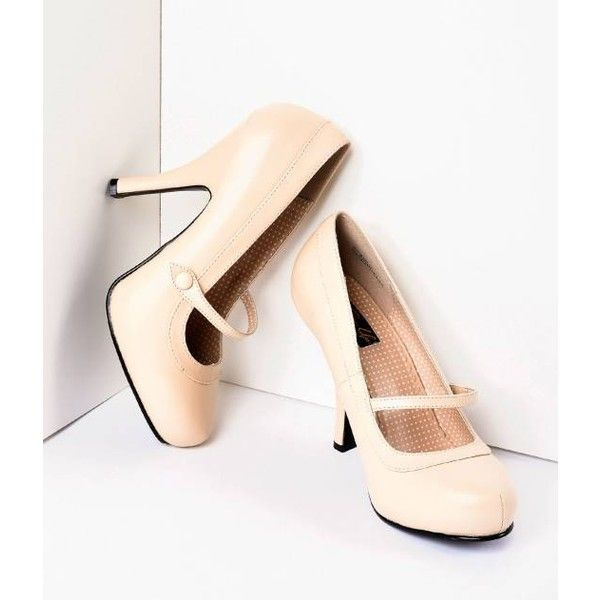 1b83df5fe5d Nude Matte Leather Cutie Pie Pumps Shoes ( 68) ❤ liked on Polyvore ...