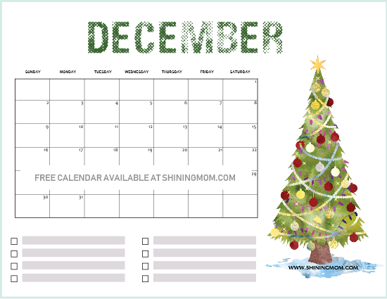 FREE Printable December 2018 Calendar: 14 Beautiful ...