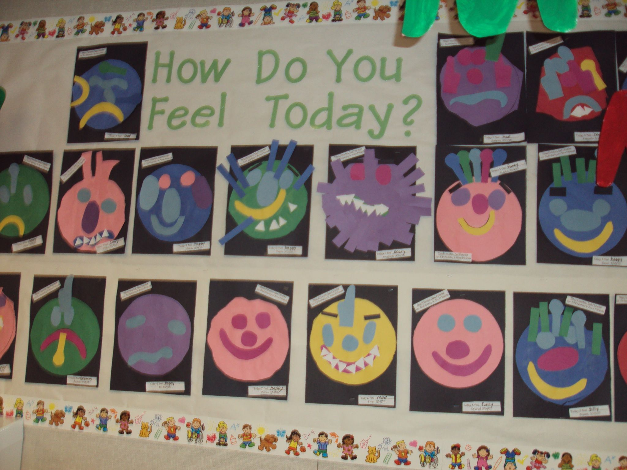 "How do you feel today ""monster"" we made after reading Glad Monster, Sad Monster.  The students dictated how their monster felt for feelings week."