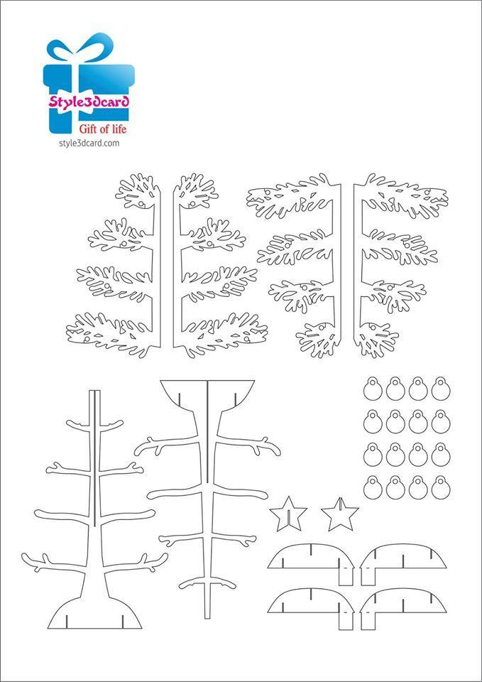 Christmas Tree Pop Up Holiday Card Kirigami Pattern 1 Pop Up Card Templates Kirigami Patterns Paper Pop