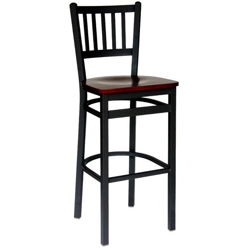 Bfm Seating Troy Black Metal Slat Back Bar Stool With Wood Seat