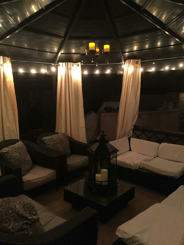 Outdoor Gazebo Lighting Awesome My Very Talented Sisterinlaw Took A Basic Costco Gazebo And Added Design Decoration
