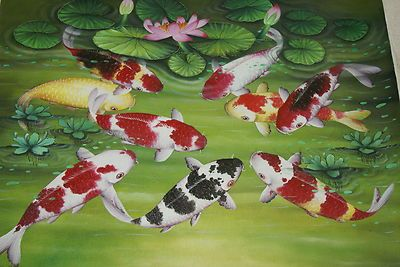 Hand painted Original Artist Canvas Signed Art Tropical Pond Lotus Koi Fish DUBS.  For any questions or If you cannot locate this listing right away, please contact us at cheetahdmr@aol.com