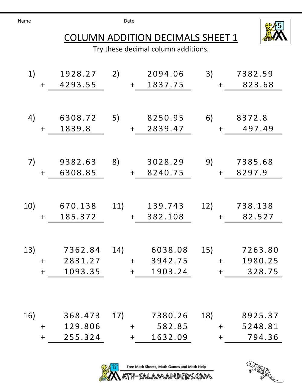 3 Worksheet Free Math Worksheets Fifth Grade 5 Decimals