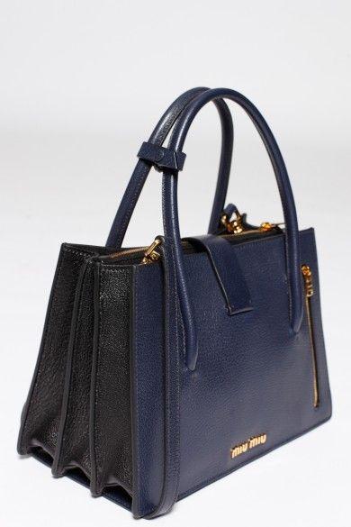 668cbb1077bf Dark Blue and Black Madras Tote Bag from Miu Miu   Hats   Bags, Tote ...