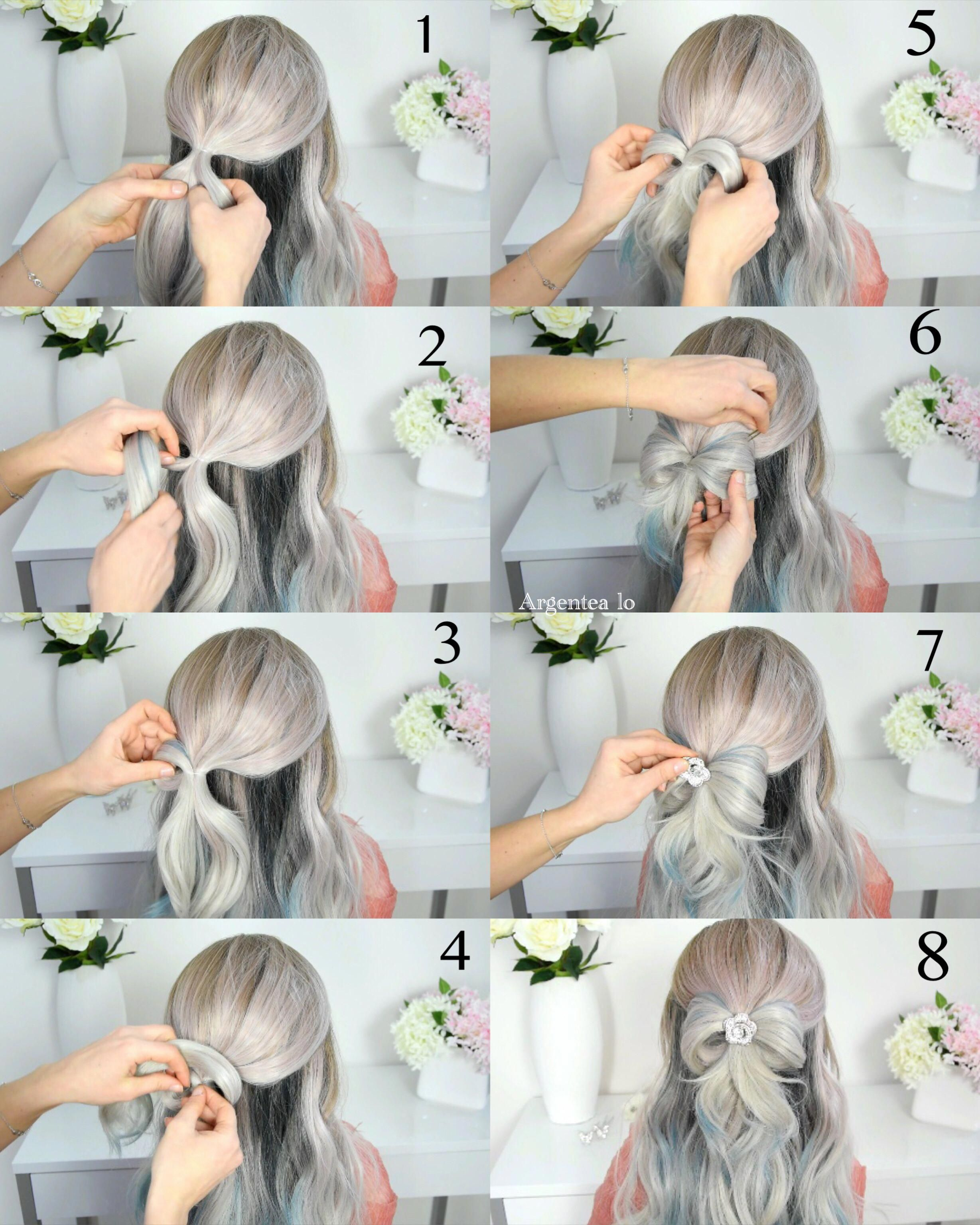 simple and easy bow hairstyle for long hair step by step