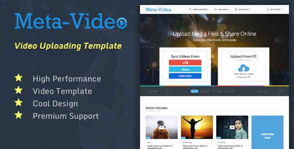 Meta Video Photo Video Audio Uploading Social Html Template Html Templates Free Website Templates Templates