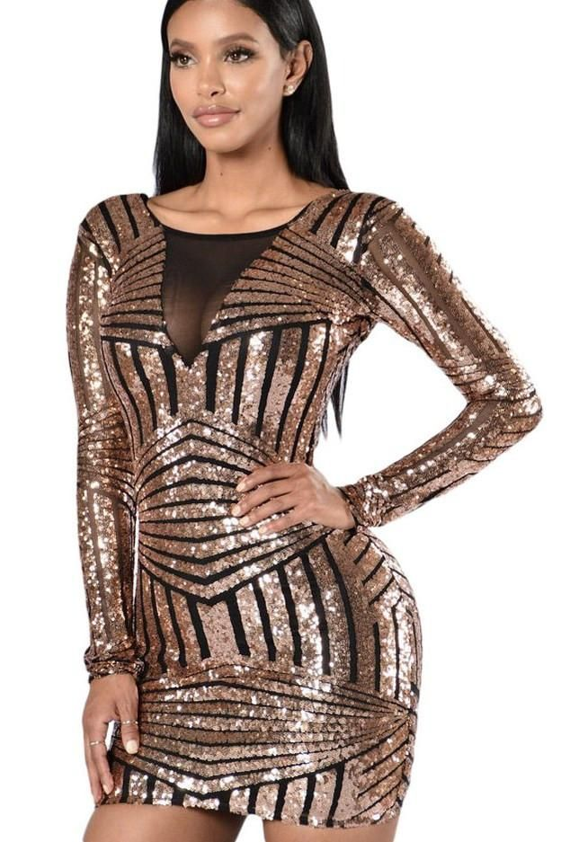 db9e7352fb5 Black Gold Backless Long Sleeve Sequin Club Dress modeshe.com Sequin Rose, Black  Sequin