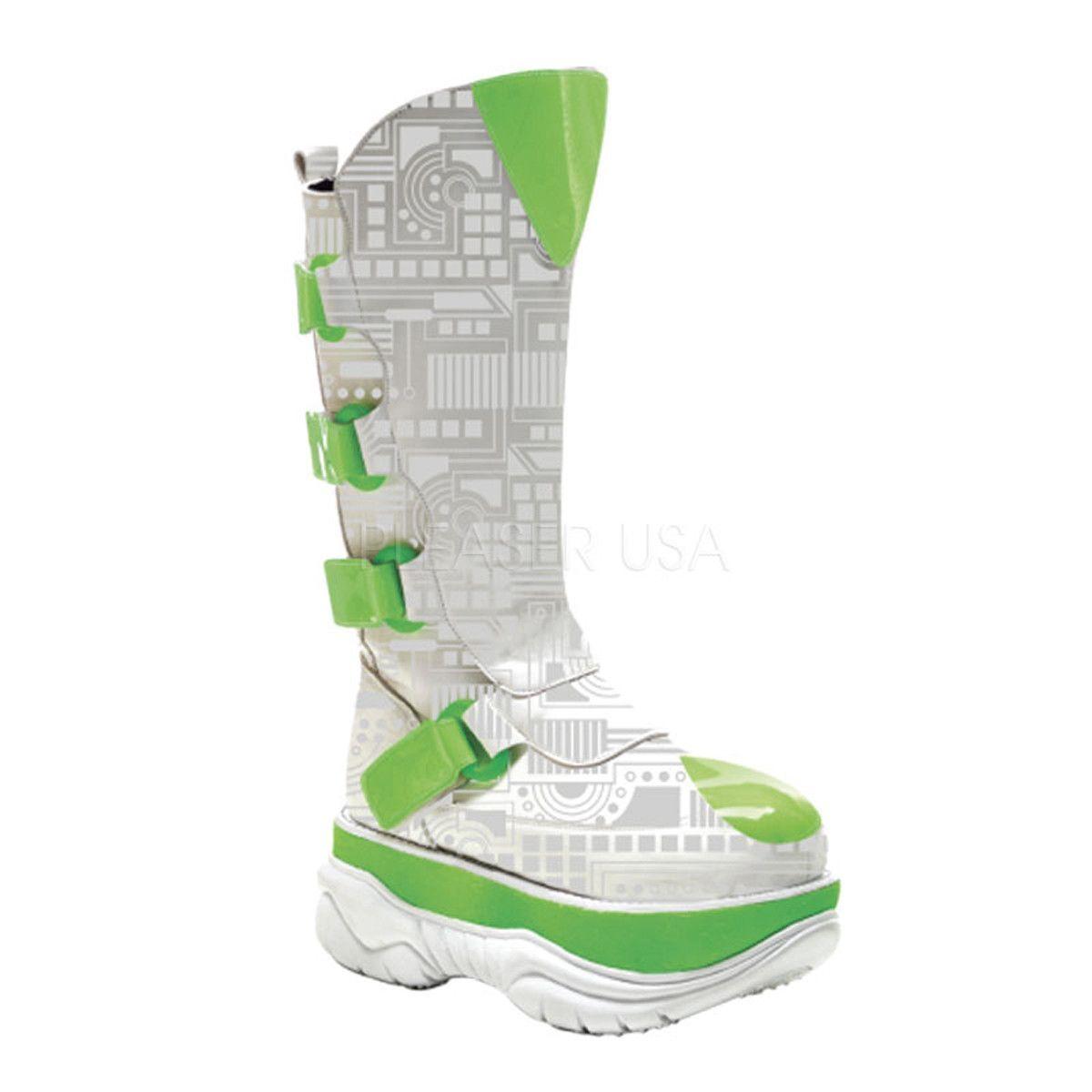 DEMONIA NEPTUNE-309UV Men's White Pu-UV Lime Cyber Boots