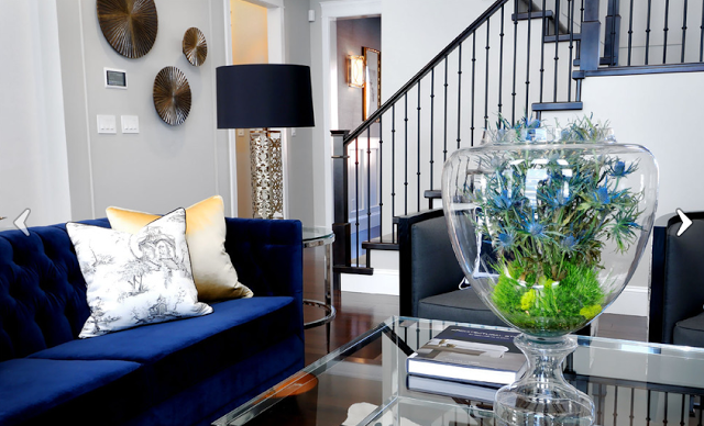 Amanda Carol At Home Thrifting Or How I Have Decorating A D D Blue Sofas Living Room Blue Sofa Living Blue Couch Living Room