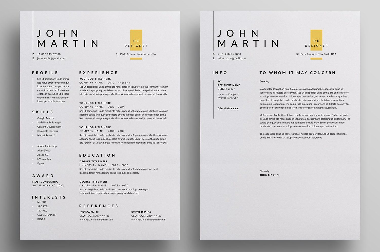 Resume Cv By Reuix Studio On Creativemarket In 2020 Resume Design Template Resume Cv Letterhead Design