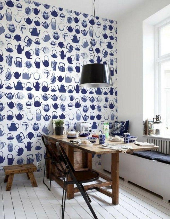Wandgestaltung Ideen Tapete Küche Hölzerne Küchenmöbel