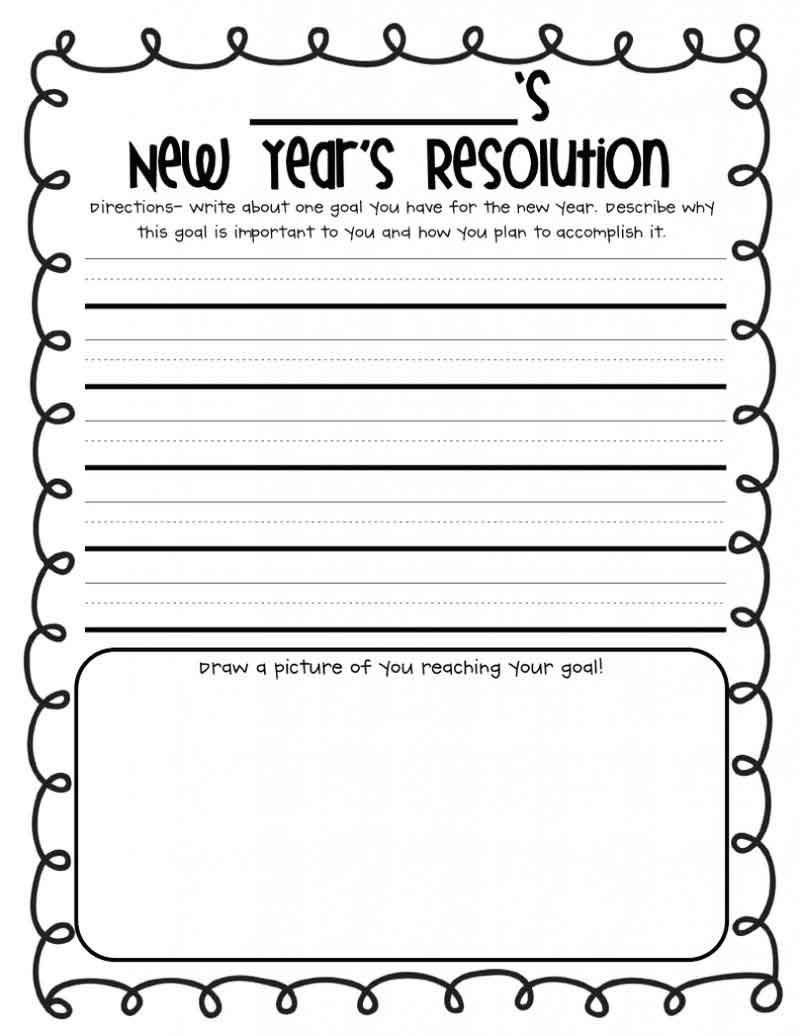 New Year Holiday Worksheet First grade writing, New