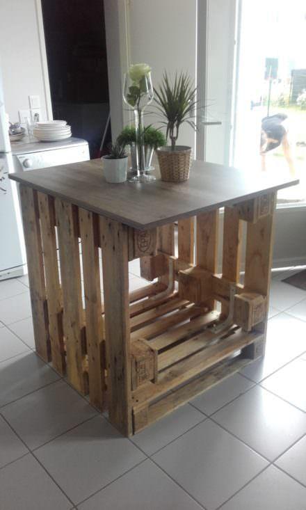 îlot Central Cuisine / Pallet Kitchen Island Pallet Furniture