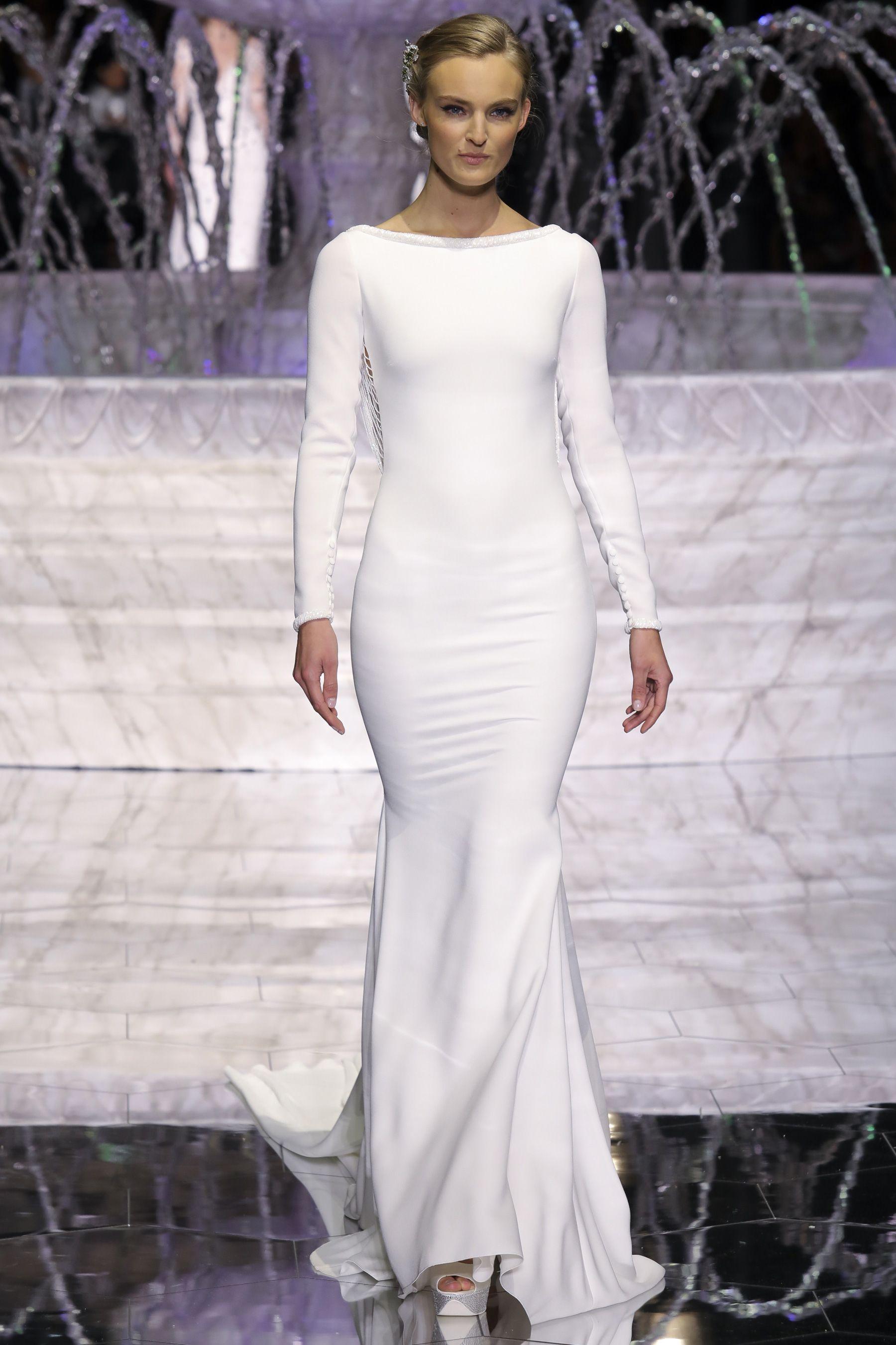 Pronovias spring bridal fashion show long sleeved bateau
